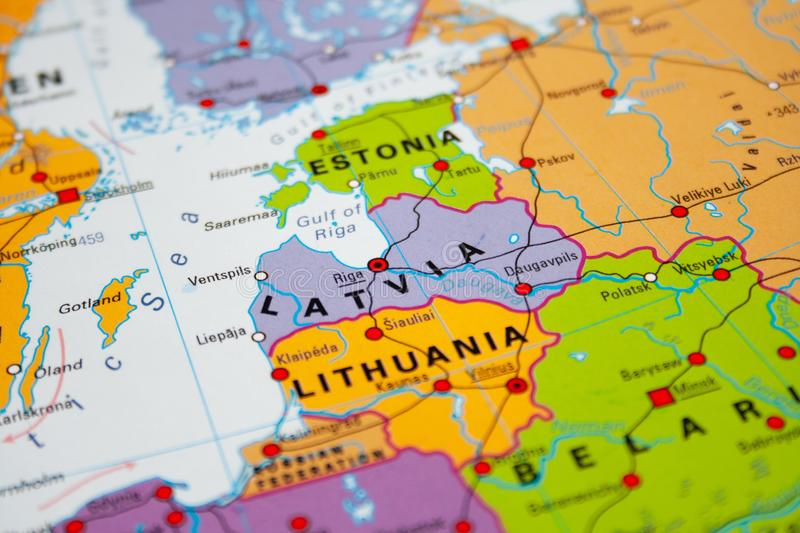 Map of Latvia. Baltic states stock images