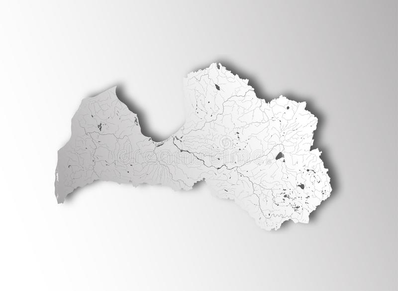 Map of Latvia with lakes and rivers royalty free stock image