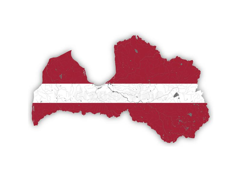 Map of Latvia with rivers and lakes in colors of the Latvian national flag stock photos