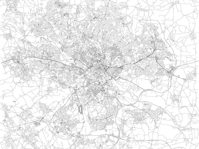 Map of Leeds, satellite view of the city, streets and houses, England. UK vector illustration