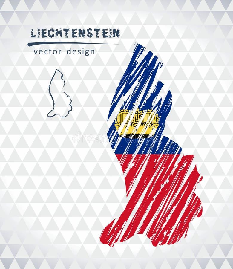 Map of Liechtenstein with hand drawn sketch map inside. Vector illustration stock illustration