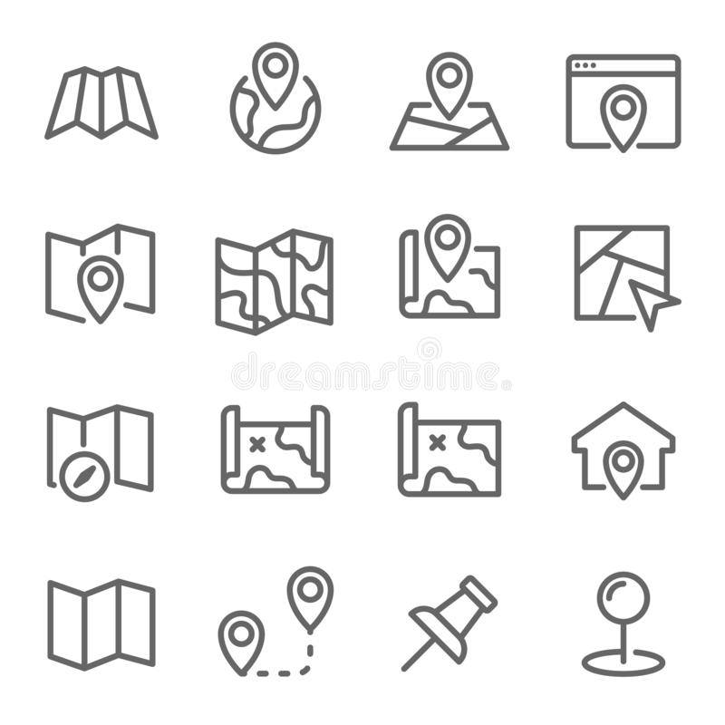 Map Line Icon Set. Contains such Icons as Destination, Location, Pin and more. Expanded Stroke. Map Line Icon Set. Contains such Icons as Destination, Location stock illustration