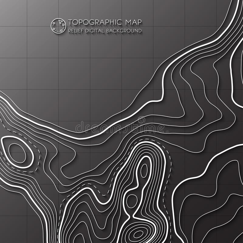 Map line of topography. Vector abstract topographic map concept with space for your copy. Mountain hiking vector illustration
