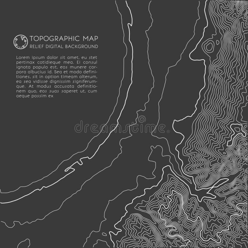 Map line of topography. Vector abstract topographic map concept with space for your copy.  stock illustration