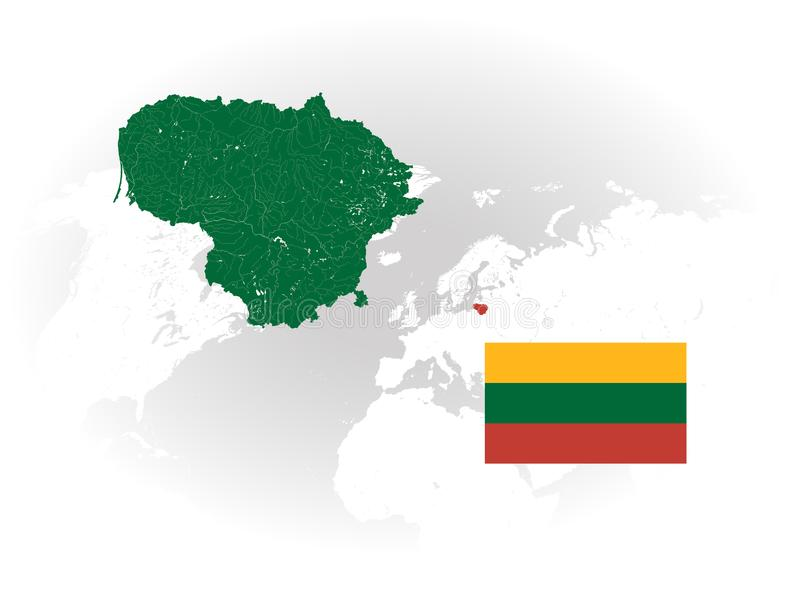 Map of Lithuania with lakes and rivers and national flag of Lithuania royalty free stock photos