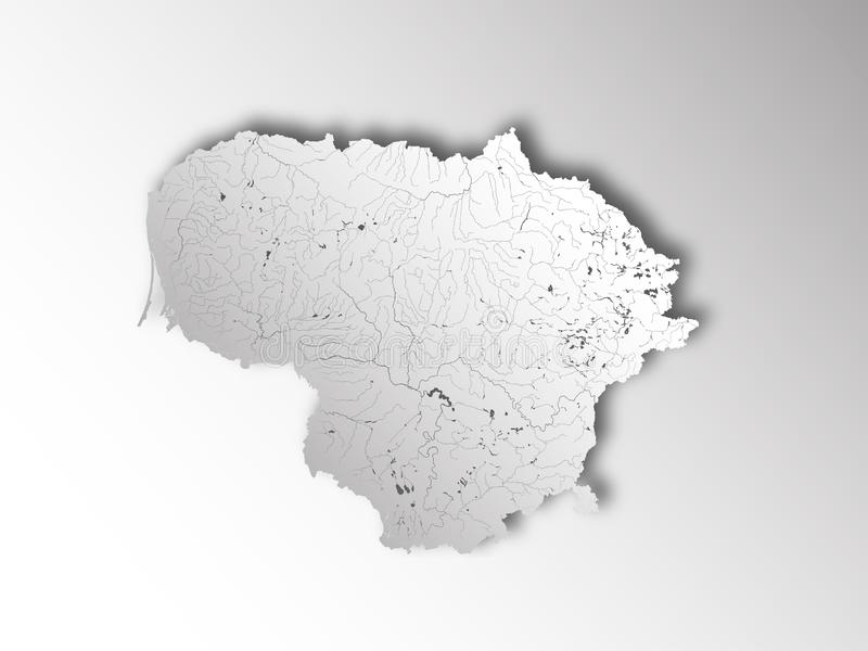 Map of Lithuania with lakes and rivers royalty free stock image