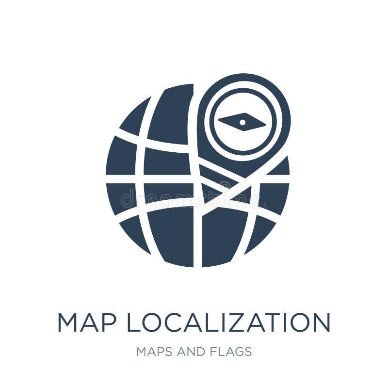 Map localization icon in trendy design style. map localization icon isolated on white background. map localization vector icon. Simple and modern flat symbol stock illustration