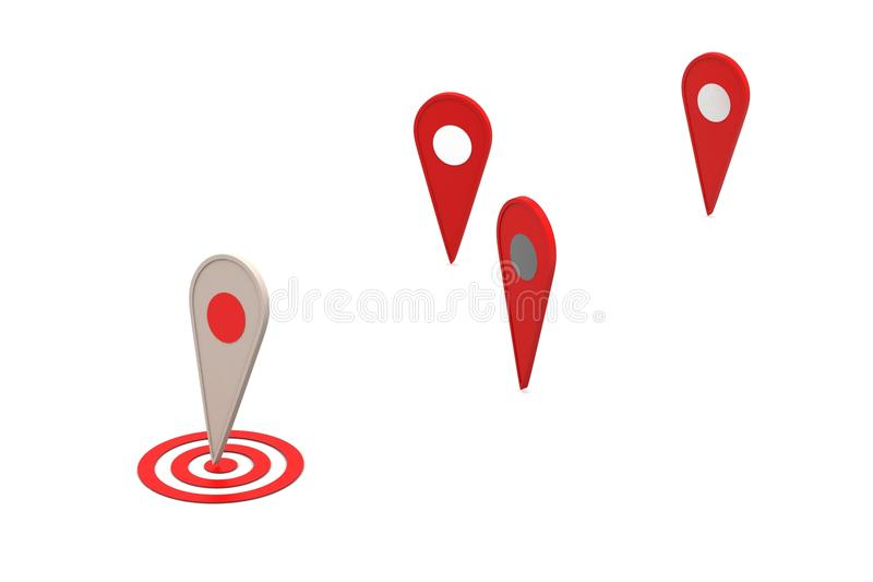 Map locating bubbles. In color background royalty free illustration