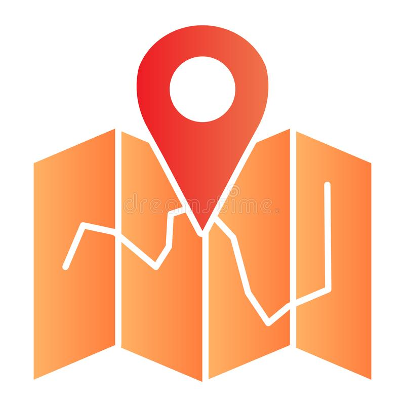 Map location flat icon. Map with pin color icons in trendy flat style. Travel gradient style design, designed for web. And app. Eps 10 stock illustration