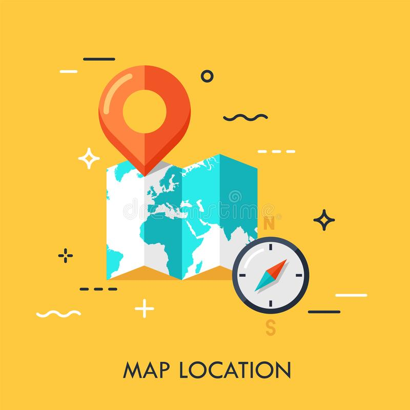 Map Location Flat Vector Concept vector illustration