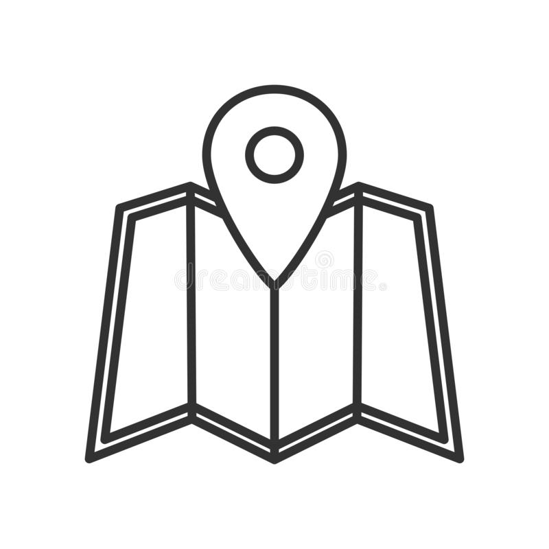 Map and Location Marker Outline Flat Icon royalty free stock images
