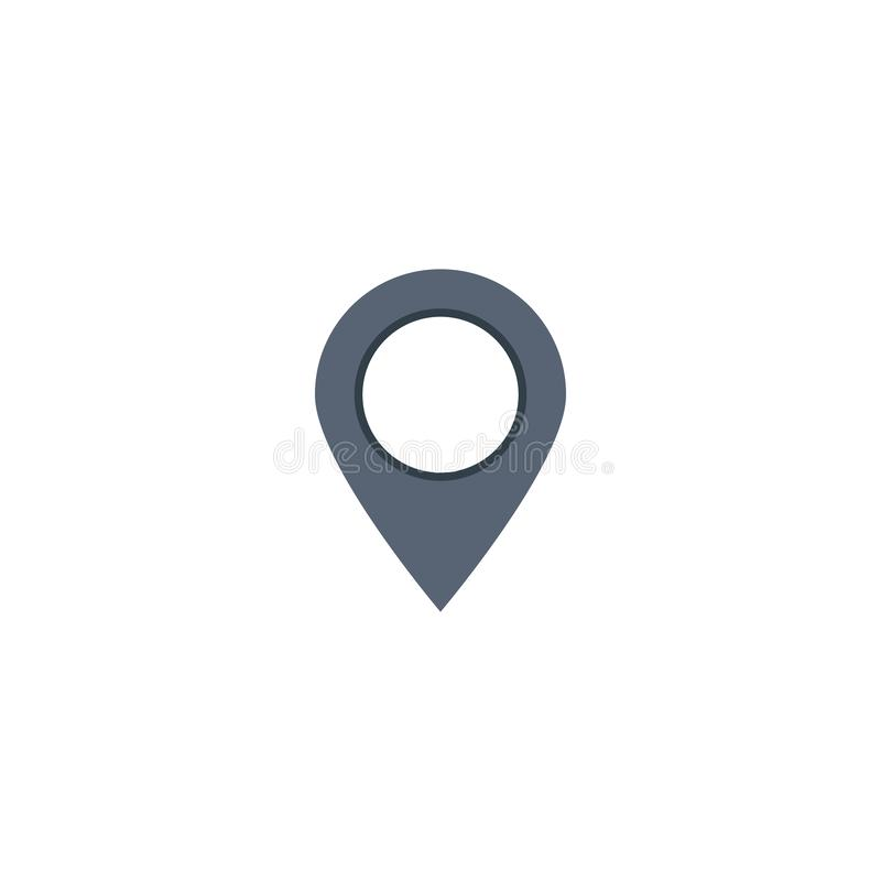 Map location pin icon. flat design on white. Background, gps, marker, navigation, pointer, place, illustration, travel, vector, button, symbol, element vector illustration