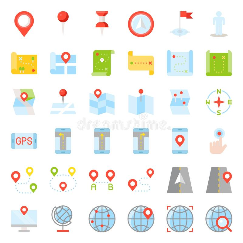 Map, location, pin and navigation vector flat design icon royalty free illustration