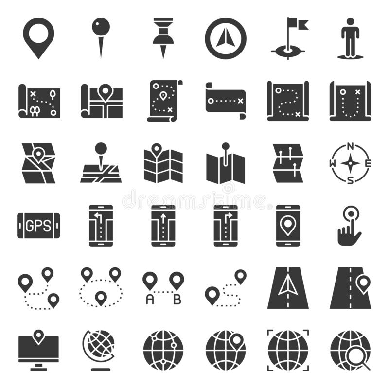 Map, location, pin and navigation vector solid icon vector illustration