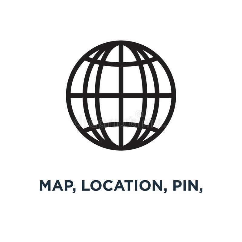 map, location, pin, travel navigation icons icon. road gps conce royalty free illustration