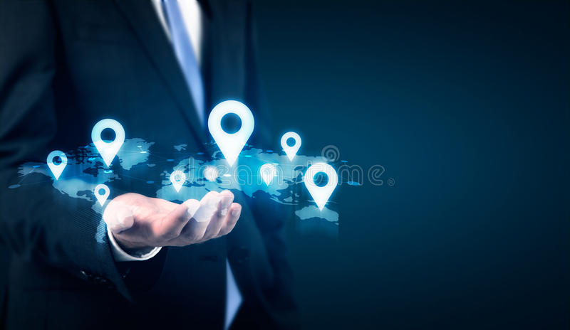 Map with location pins royalty free stock image