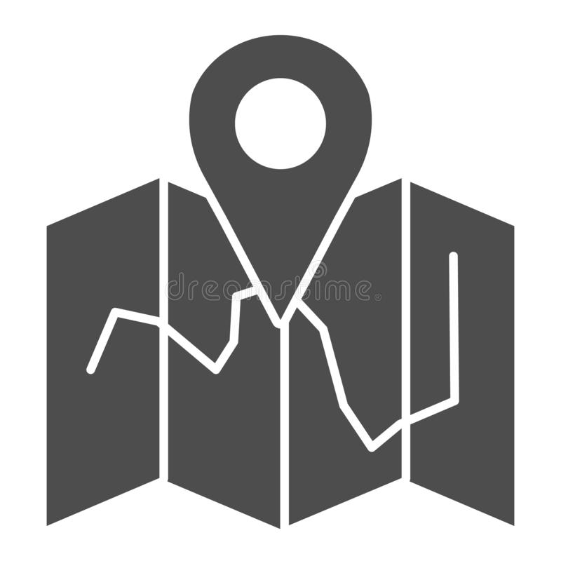 Map location solid icon. Map with pin vector illustration isolated on white. Travel glyph style design, designed for web. And app. Eps 10 vector illustration