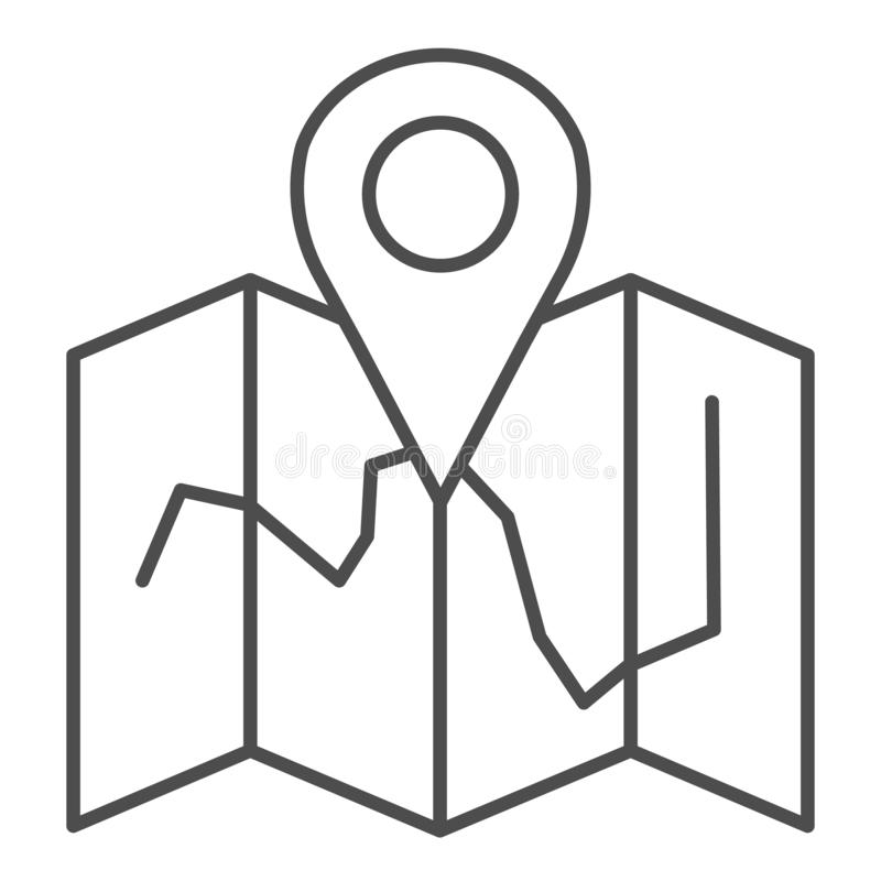 Map location thin line icon. Map with pin vector illustration isolated on white. Travel outline style design, designed vector illustration