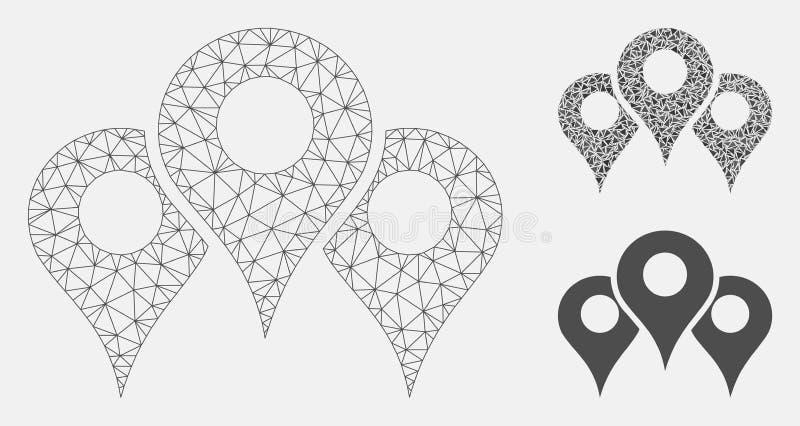 Map lokacji siatki sieci trójboka i modela mozaiki Wektorowa ikona ilustracji