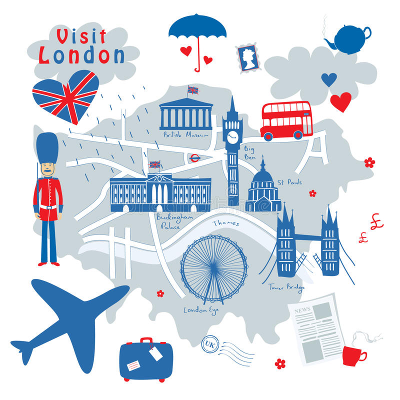 Map of London. Vector map of London's sights