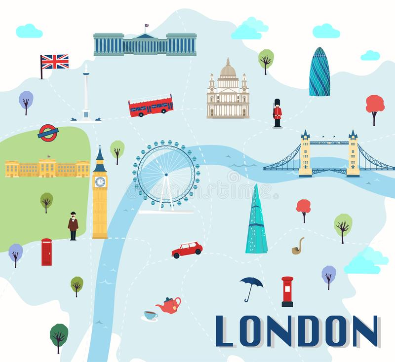 Map Of London England With Tourist Attractions.London England Tourist Attractions Infographic Stock Vector