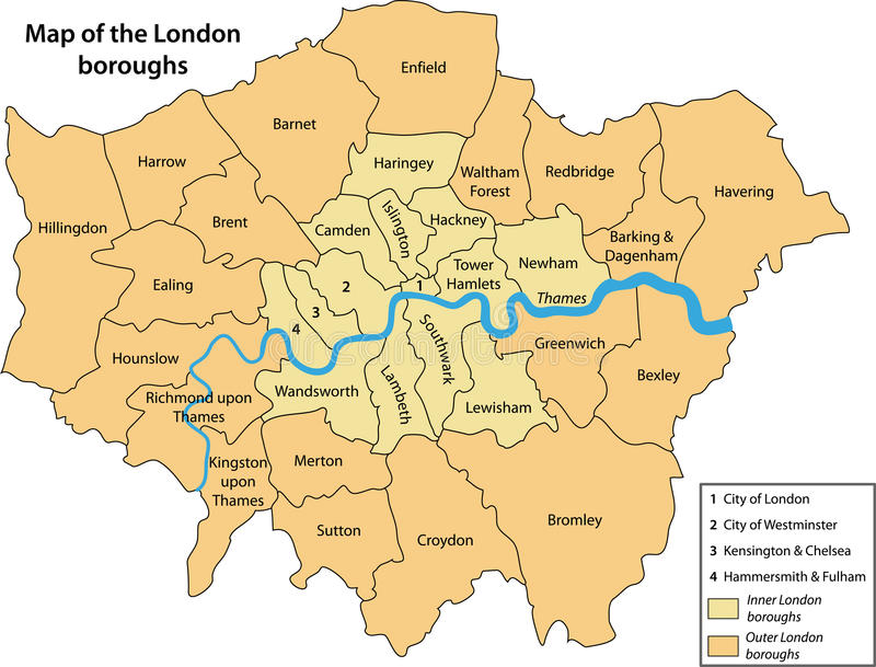 Map Of The London Boroughs Stock Photography Image - London map of boroughs