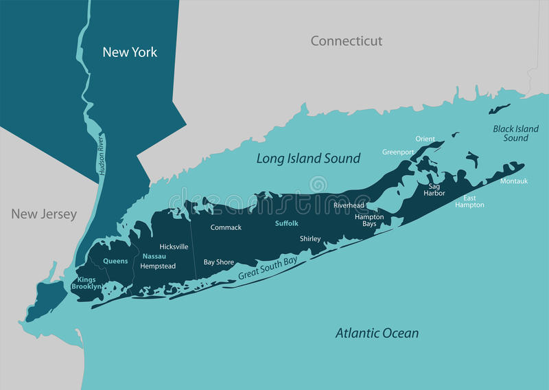 Map of Long Island. Vector map of Long Island - a region within the US state of New York vector illustration