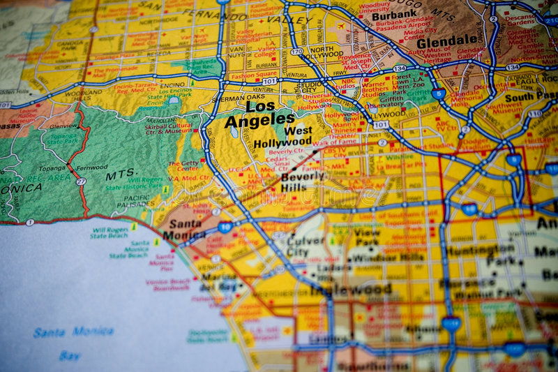 Map of Los Angeles. Macro picture of a map of Los Angeles with slight vignette royalty free stock photography