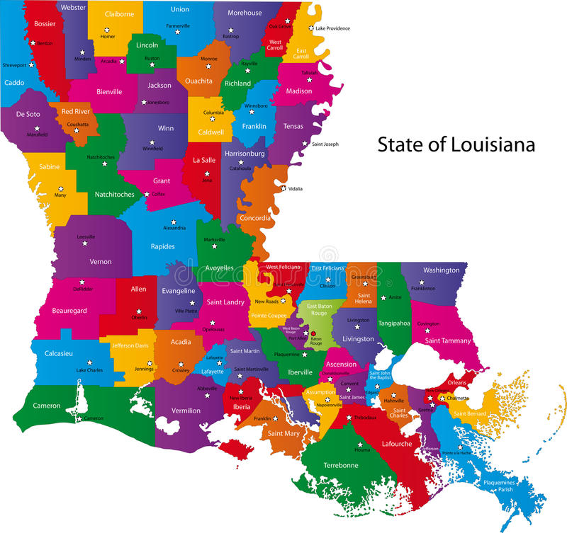 Map of Louisiana. Colorful map of the state of Louisiana with counties and county seats