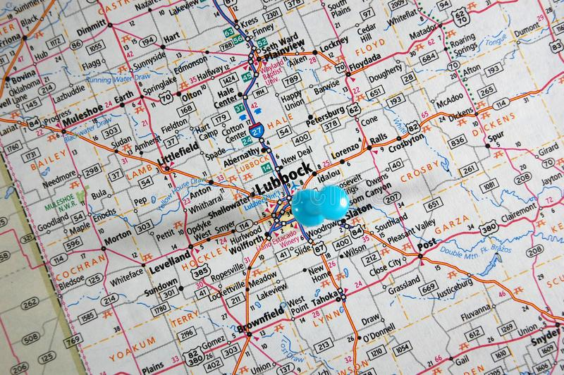 Lubbock, Texas. A map of Lubbock, Texas marked with a push pin royalty free stock photo