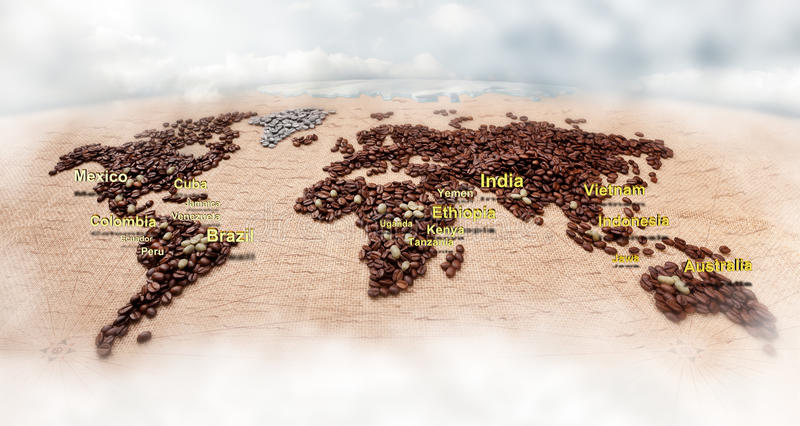 Map made of coffee royalty free stock photography