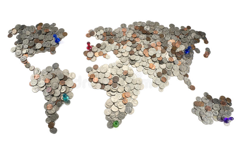 Map made of coins royalty free stock photo