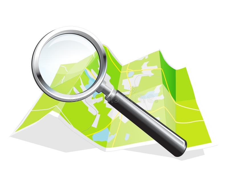 Map magnifier. World map and magnifying glass in the form of a teaser site dyal royalty free illustration