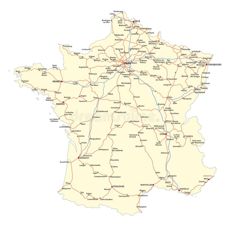 Map of the main roads of the French railway network.  royalty free illustration