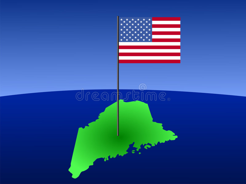 Download Map of Maine with flag stock vector. Illustration of maine - 3139086