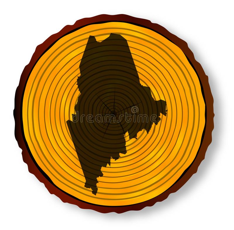 Maine Map On Timber. Map of Maine on a timber end section over a white background royalty free illustration