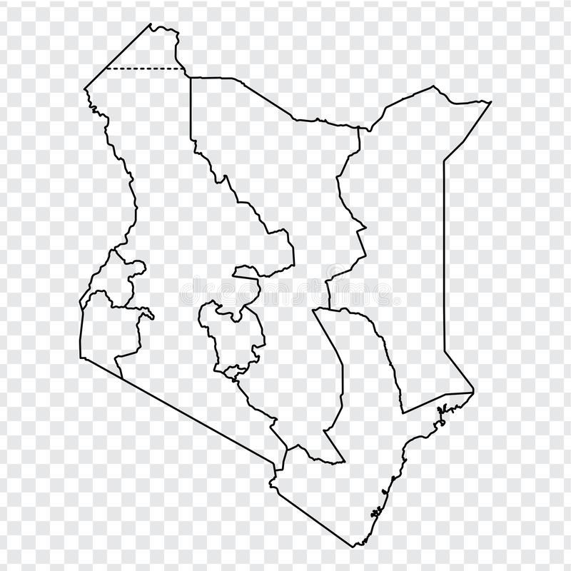 Blank map Republic of Kenya. High quality map of  Kenya with provinces on transparent background for your web site design, logo, a. Pp, UI.  Africa. EPS10 stock illustration