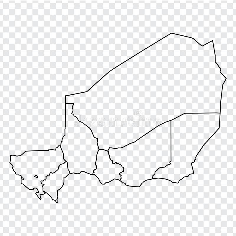 Blank map Republic of Niger. High quality map of  Niger with provinces on transparent background for your web site design, logo, a. Pp, UI.  Africa. EPS10 royalty free illustration