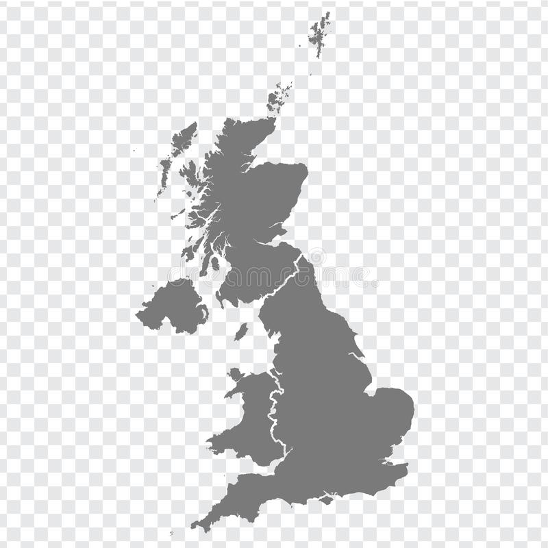 Blank map of United Kingdom. High quality map of  Great Britain with provinces on transparent background for your web site design,. Logo, app, UI. UK. EPS10 vector illustration