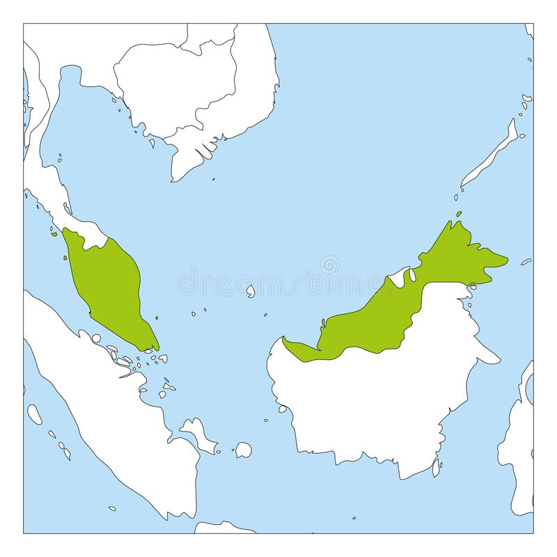 Map of Malaysia green highlighted with neighbor countries royalty free illustration
