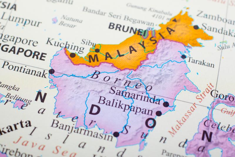 Map of Malaysia in the middle of Brunei and Borneo. Map of part of Malaysiain the middle of Brunei and Borneo. Kuala Lumpur is the capital city of Malaysia stock image