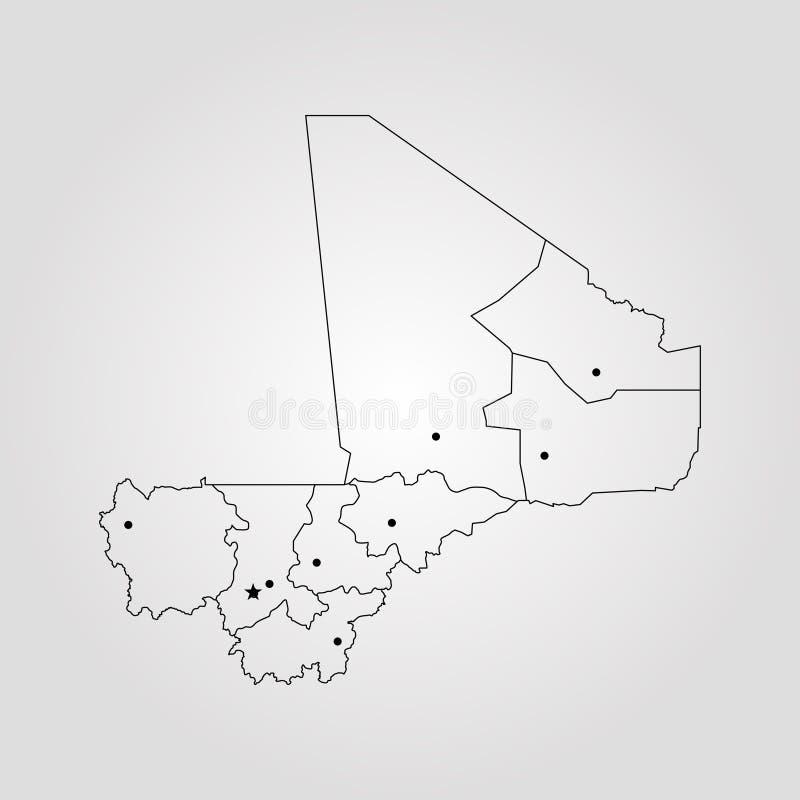 Map of Mali. Vector illustration. World map vector illustration