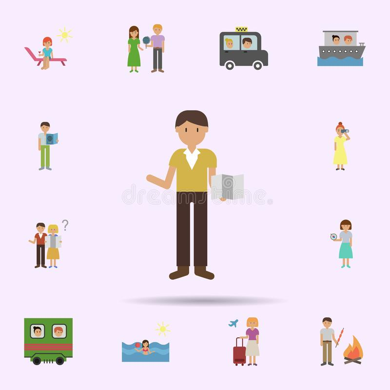 Map, man cartoon icon. Universal set of travel for website design and development, app development. On color background stock illustration