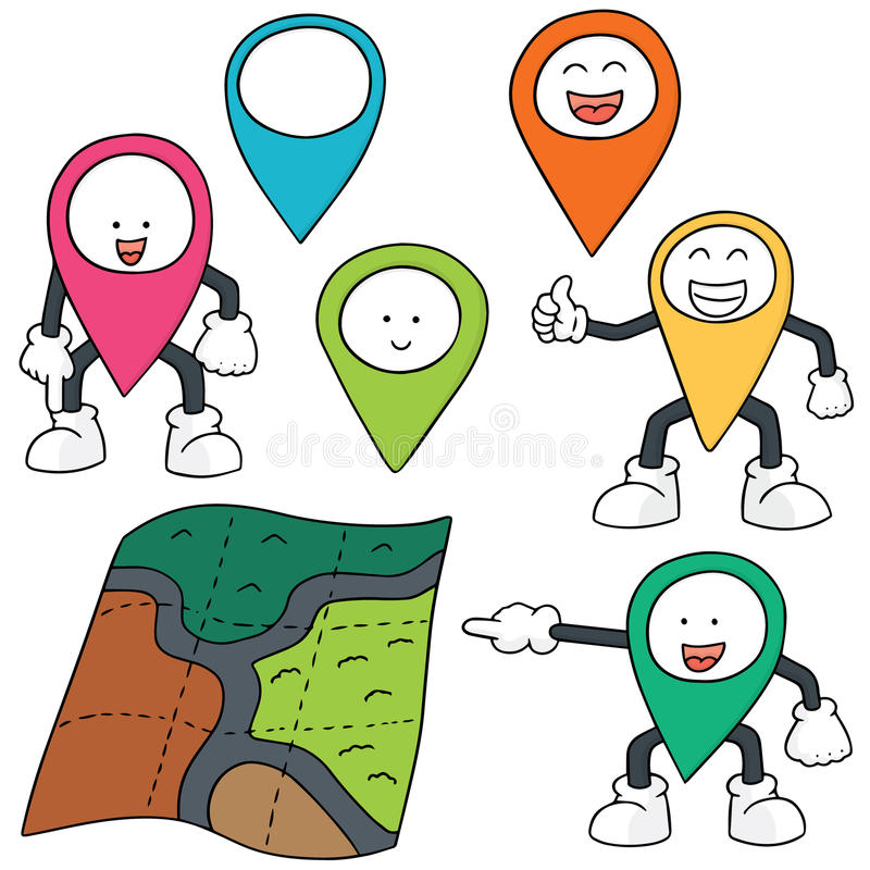Map and map marker. Vector set of map and map marker stock illustration