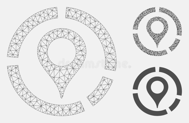 Map Marker Diagram Vector Mesh Network Model and Triangle Mosaic Icon. Mesh map marker diagram model with triangle mosaic icon. Wire carcass triangular mesh of vector illustration
