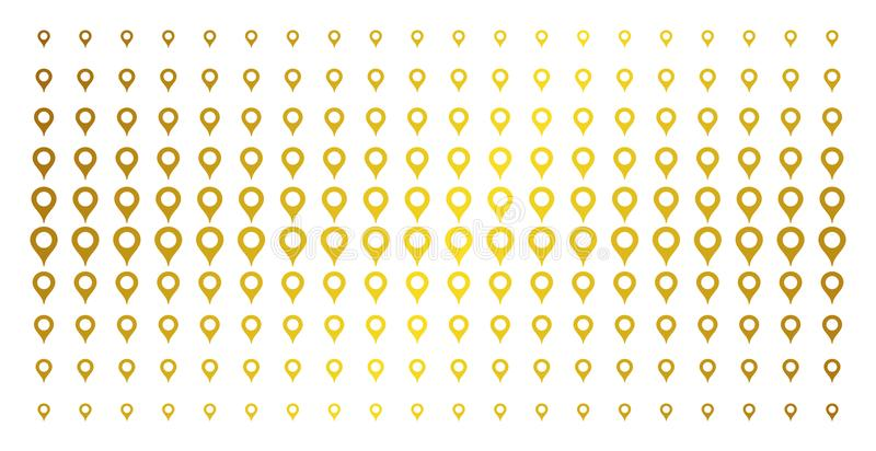 Map Marker Gold Halftone Array. Map marker icon golden halftone pattern. Vector map marker pictograms are arranged into halftone matrix with inclined gold color stock illustration