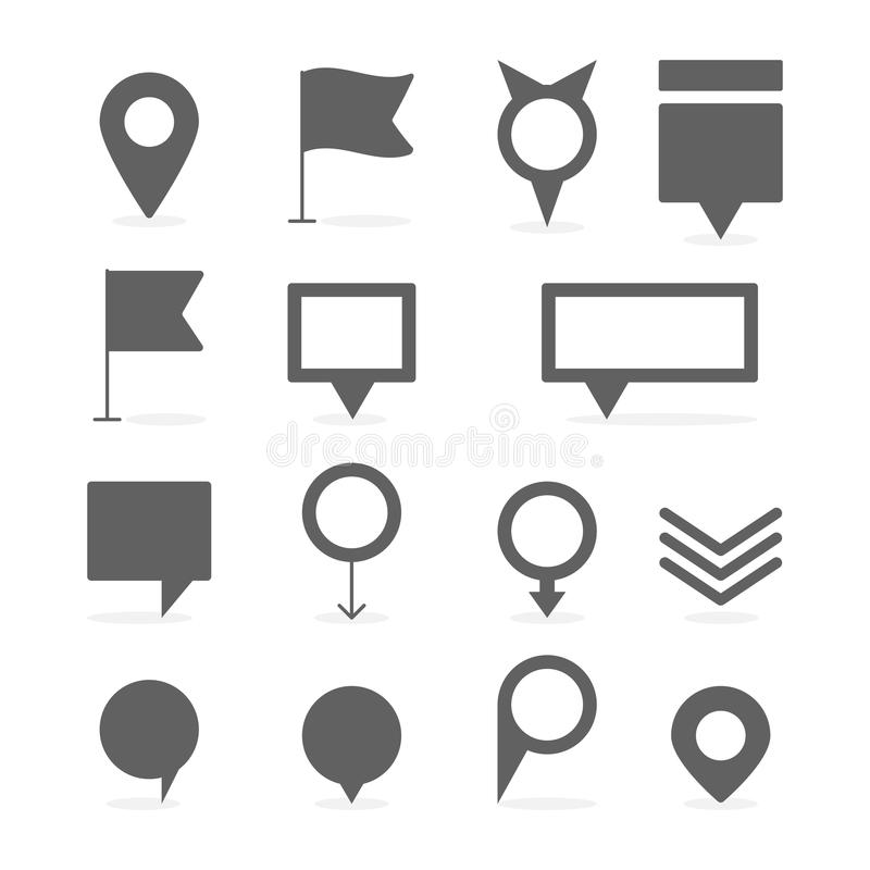 Map Marker and pin collection set vector illustration stock illustration