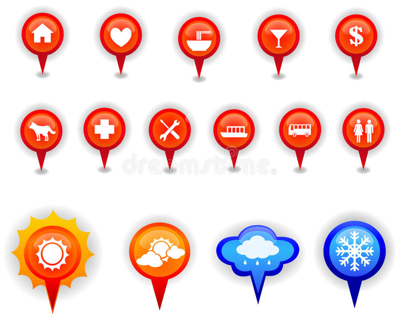 Download Map Marker And Pin Icons Set In Isolation Stock Vector - Image: 37440166