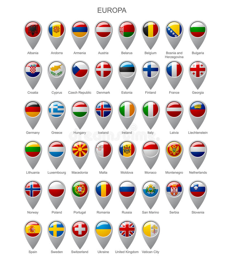 Map marker set with flags of Europa stock illustration