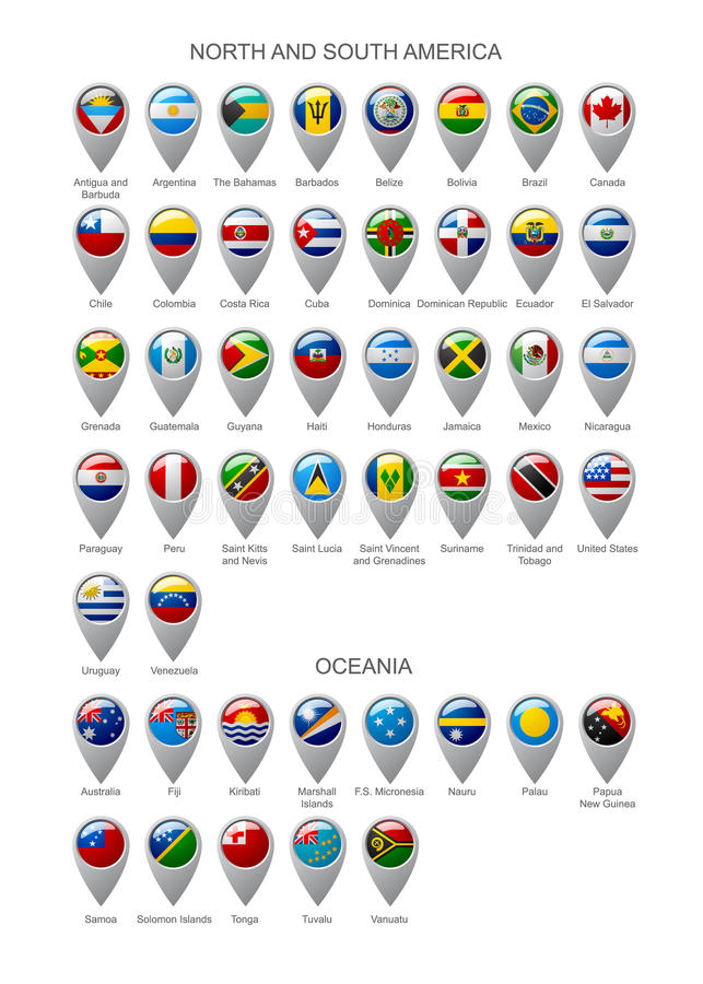 Map marker set with flags of North and South America continents royalty free illustration